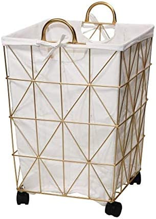 Mainstay Square Symmetrical Metal Hamper in Gold Features Carry Handles Removable Liner /& Wheels