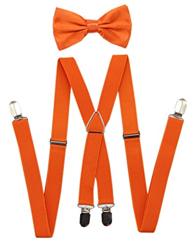 JAIFEI Men's X Back Suspenders & Bowtie Set - Perfect For Weddings & Formal Events (ORANGE)