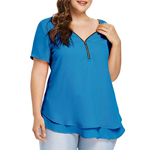 (YOcheerful Women Plus Size Blouse Loose Shirt V Neck Tops Tee Sexy Crops(Z6-Blue, 3XL))