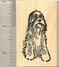 Shaggy Tibetan Terrier Dog Rubber Stamp - Wood Mounted ()