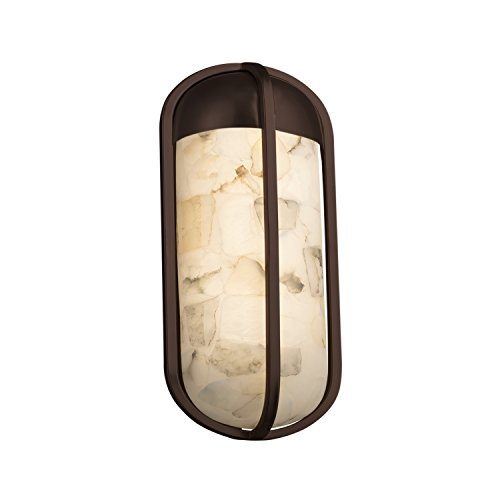 Alabaster Rocks! - Starboard Small LED Outdoor Wall Sconce with Alabaster Rocks Shade - Dark Bronze Finish Alabaster Rocks 12 Light