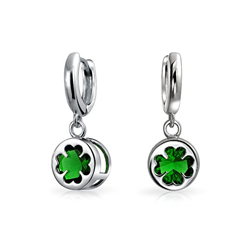Sterling Silver Leaf Charm Glass (Sterling Silver Four Leaf Clover Green Glass Drop Earrings)