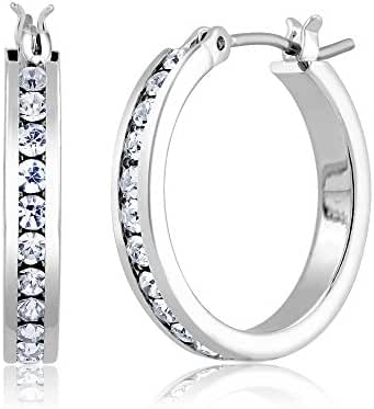 Silver Cubic Zirconia Comfort Fit Hoop Earring-giftboxed