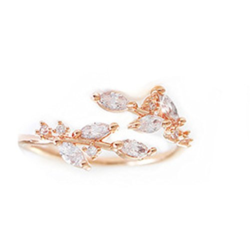 YouCY Simple Leaves Ring Fashion Zircon Opening Ring Adjustable Finger Ring for Women Girls Wedding Jewelry,Rose gold