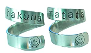Hakuna Matata - Two Friendship Rings - Aluminium Wrap Rings - Hand Stamped