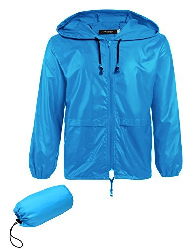 COOFANDY Men's Packable Rain Jacket Outdoor Waterproof Hooded Lightweight Classic Cycling Raincoat Poncho Sky Blue ()