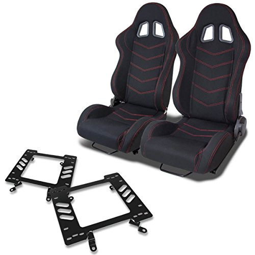 (Pair of RST118BK Racing Seats+Mounting Bracket for Ford Mustang)