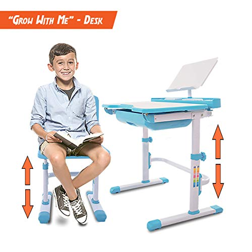 41pQZ%2B8fsEL - VIVO Height Adjustable Children's Desk and Chair Set, Grey