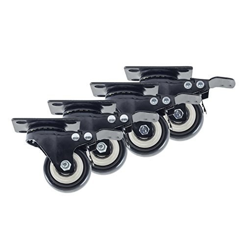 Houseables Caster Wheels, 4 Locking Castors, 2 Inch, Black, Heavy Duty, 600 LB Total Capacity, Threaded, Metal Swivel Brake Casters, Locking, Rubber Wheel, Castor Set, For Furniture, Dolly, Carts by Houseables