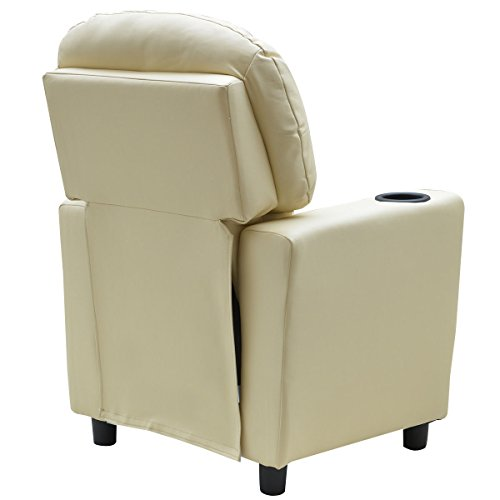 Costzon Contemporary Kids Recliner, PU Leather Lounge Furniture for Boys & Girls W/Cup Holder, Children Sofa Chair (Beige) by Costzon (Image #8)