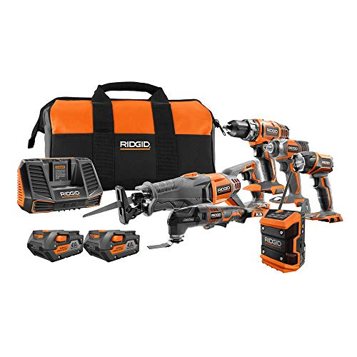 (Ridgid 18-Volt Lithium-Ion Cordless 6-Tool Combo Kit with (2) Batteries, (1) 18-Volt Charger, and Contractor's Bag)