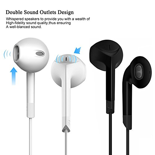 Earphones,HaRuion Earbuds,Headphones,In Ear Earphones,Ear buds Wired with Mic for Apple Iphone 6S Plus/Samsung Galaxy S9 Edge 8/Huawei/LG/Blackberry Mobile Devobile Device MP3 Music Player Ios Android by HaRuion (Image #2)