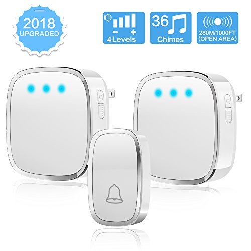 Wireless Doorbell with LED Flash,Ailuki Waterproof Doorbell Chime Kit,2 Plug-in Receivers and 1 remote transmitter button,Operating at over 1000-feet Range with 4 Levels Volume and 36 Chimes to Choose (Bell Flash)