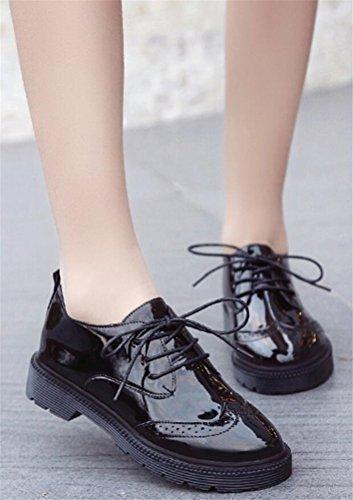 Oxford Skor Kvinnor Mid Häl, Casual Skoluniform Dress Shoe Arbets Använda Anti-sladd Årgång London Svart