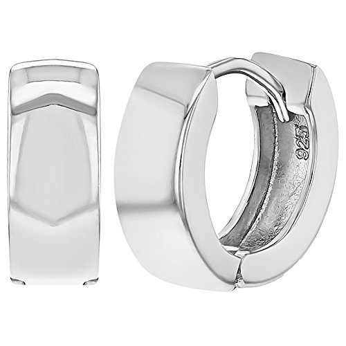 (925 Sterling Silver Classic Wide Huggie Hoop Earrings for Teens Women 0.51