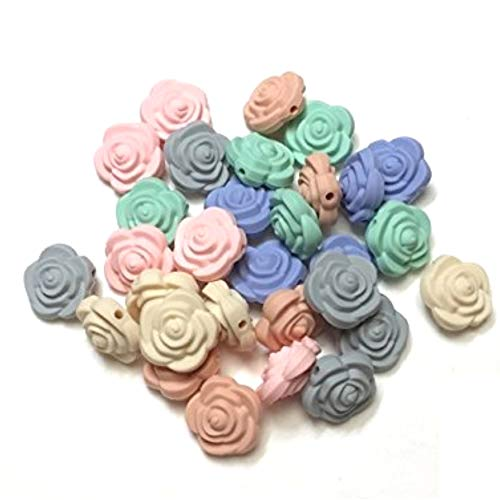 Flower Shaped Silicone Bead for Making Toys, Teethers, Bracelets and Jewelry | DIY Sensory, Nursing & Chew Necklaces (80 Pastel, 30 PC)