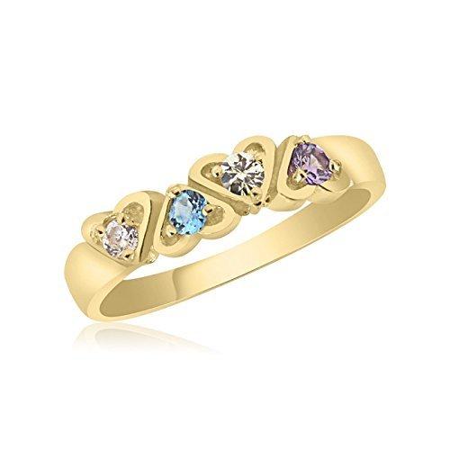 4 Birthstone Family Ring 10K Yellow Gold Interlocking Hearts