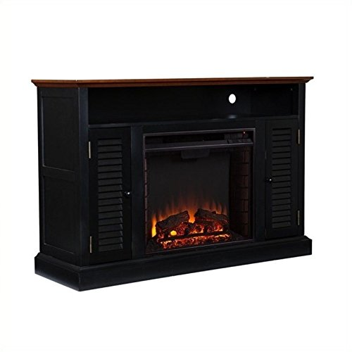 "Fox 48"" TV Stand with Electric Fireplace Finish: Black/Walnu"