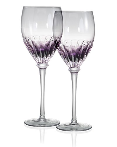 Danesco Mouth Blown Color Infused 12 ounce Wine Glasses   Purple   (Large Image)