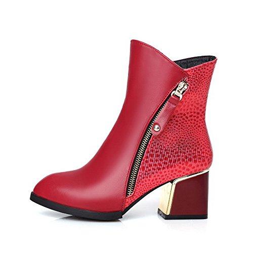 VogueZone009 Damen Reißverschluss Spitz Zehe Mittler Absatz Niedrig-Spitze Stiefel Rot