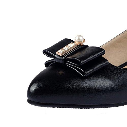 Sujetado bajos Bombas VogueZone009 tirar Punta Negro cerrada Material blando y sin mujer para zapatos Tacones 14YRTpqA