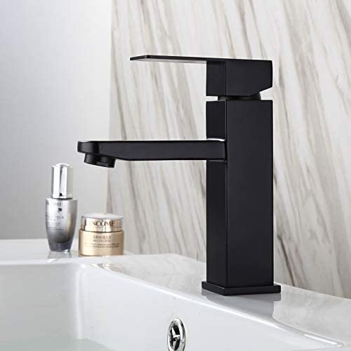 Bathroom sink Faucet Single handle One Hole Deck Mount Lavatory vanity Faucet Modern and Commercial in Matte Black