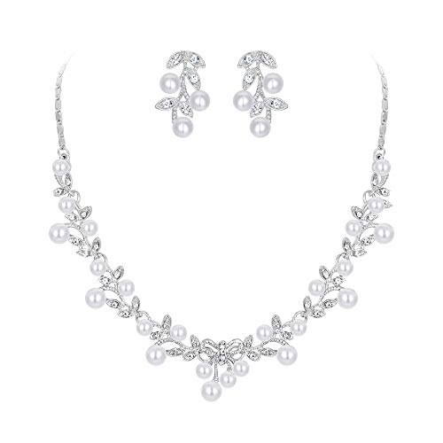 (EVER FAITH Women's Simulated Pearl Vine Leaf Bowknot Necklace Earrings Set Silver-Tone)