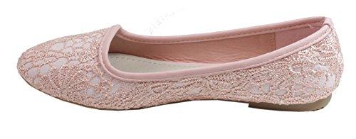 trendBOUTIQUE Laria - Bestickte Damen Ballerinas Halbschuhe Bestickung mit Baumwolle 36 37 38 39 40 41 Rosa