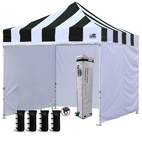 Eurmax 10'x10' Ez Pop-up Canopy Tent Commercial Instant Canopies with 4 Removable Zipper End Side Walls and Roller Bag, Bonus 4 SandBags(Carnival Black White) (& White Black Canopy)