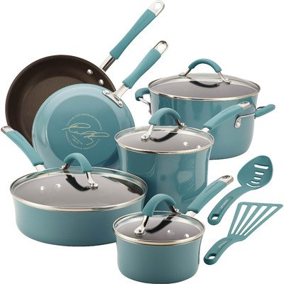 Food Network Cookware Set RACHAEL RAY Premium Nonstick Hard Porcelain Enamel Cookware 12 Piece, Agave Blue, Glass Lid
