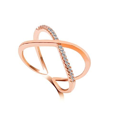 Infinity Rhinestone Ring, Engraved Infinity Knuckle MIDI Ring, X Ring (Rose - Price Stock Kors
