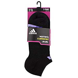 adidas Women's Cushioned No Show Sock (3 Pack), One Size, Black/Light Flash Purple/Green Glow/Bold Pink