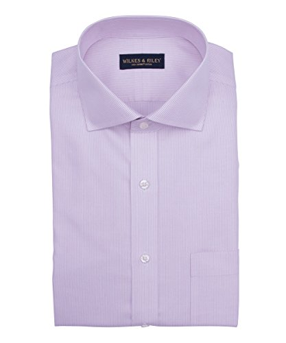 Non Iron Twill Stripe Dress Shirt (Wilkes & Riley, Slim Fit, Non-Iron Pink twill Stripe English Spread)