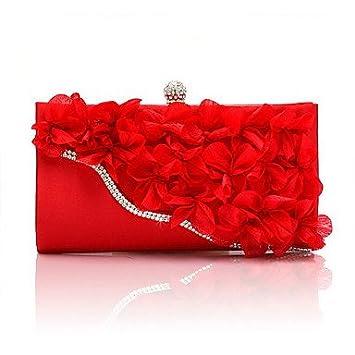 Bolsa de noche mujeres Chiffon All Seasons evento de boda//Parte comercial formal Casual Baguette Broche Flor Fucsia plata LockBlack Ruby