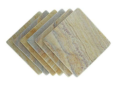 Stella Purple Desert Sandstone Drink Coasters - Set of 6 - Premium Absorbent Natural Stone (Usa Tile Drink Coasters)