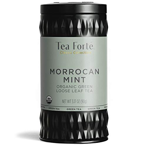Tea Forte Organic Green Tea, Makes 35-50 Cups, 3.17 Ounce Loose Leaf Tea Canister, Moroccan Mint ()