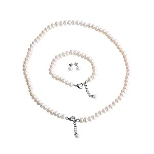 LEILE 7-8MM Steamed Buns White Freshwater Pearl Necklace Earring Ear Studs Hand Chain 3 piece suit