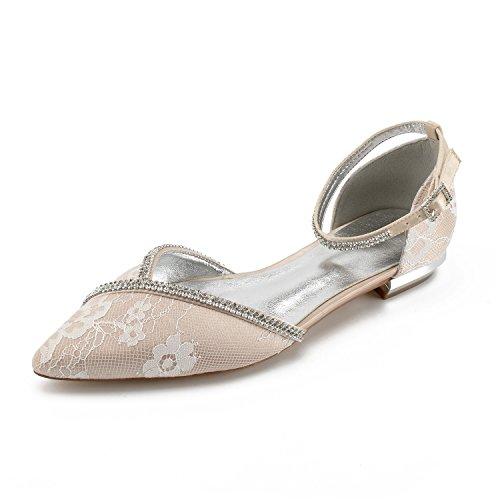23ff39eeaa35 MarHermoso Women s Pointed Toe Ankle Strap Rhinestones Satin Lace Flats  Comfort Wedding Bridal Shoes