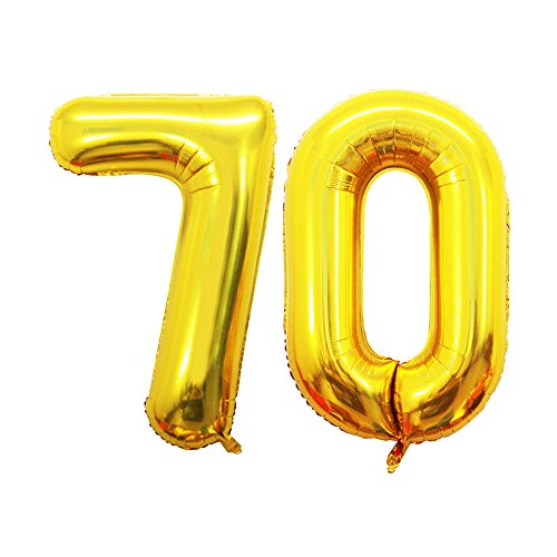 GOER 42 Inch Gold Number 70 Balloon,Jumbo Foil Helium Balloons for 70th Birthday Party Decorations and 70th Anniversary Event ()