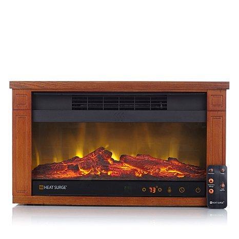Heat Surge Mini Glo Widescreen Fireplace Heater dark oak