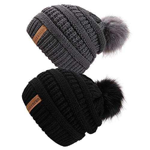 0968475d13d Queenfur Knit Slouchy Beanie for Women Thick Baggy Hat Faux Fur Pompom  Winter Hat (Black