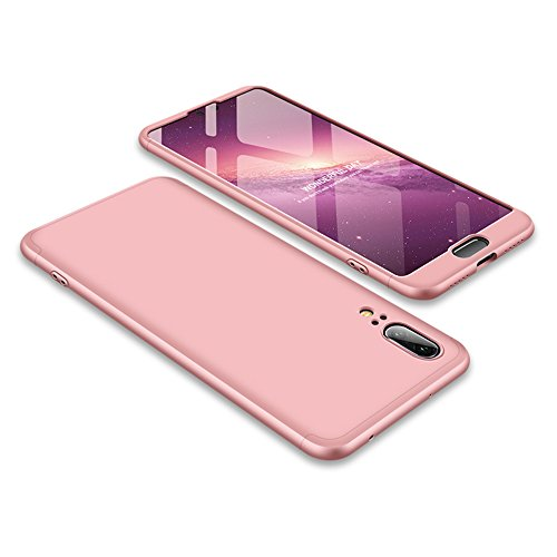 Huawei P20 Case Slim 3 in 1 Hard PC Matte Surface Non Slip Shockproof Anti-Scratches Full Body Protective Cover for P20 (2018) (Pink, Huawei P20)