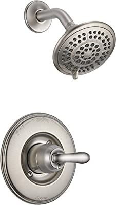 Delta Faucet Linden 14 Series Single-Function Shower Trim Kit with 5-Spray Touch-Clean Shower Head, Stainless T14294-SS (Valve Not Included)