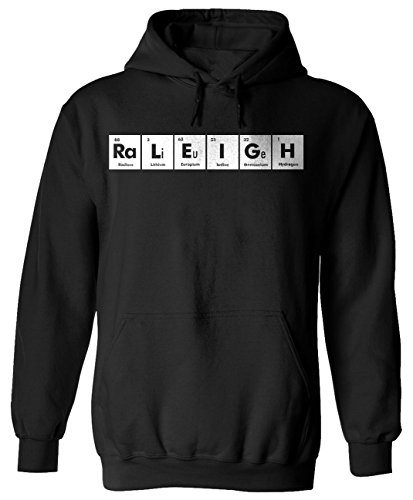 RALEIGH Periodic Table Chemistry Funny Adult Black Hoodie for Men and Women x3 - Raleigh Limited Clothing