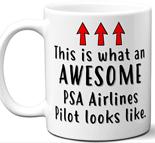 (Pilot Gifts For Women, Men, Coffee Mug. PSA Airlines. Funny Personalized Aviation Themed Valentines Retirement Idea Dad Unique Student Christmas Fathers Day Mothers Day Birthday.)