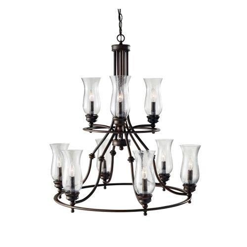Feiss F2785/3+6HTBZ Pickering Lane Glass Candle Chandelier, 9-Light, 540watts, Bronze (5