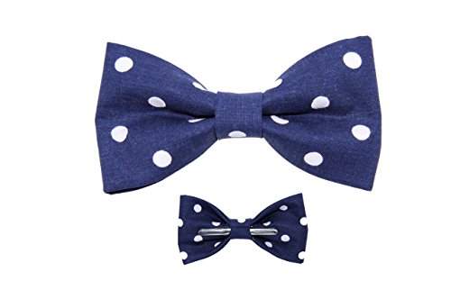 Boys (5 -12 Years) Navy / White Polka Dots Clip On Cotton Bow Tie