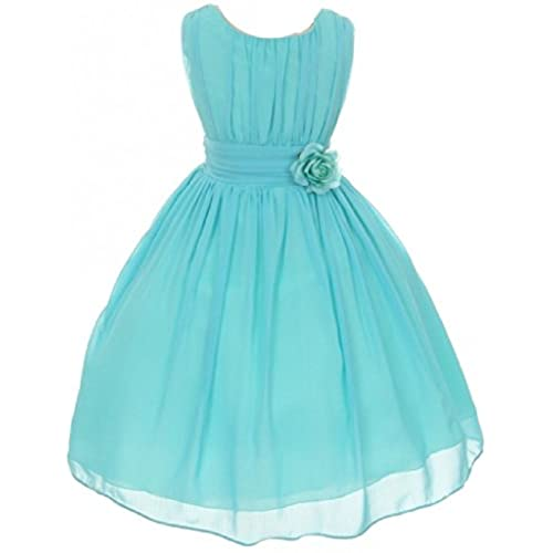 Little Girls Elegant Yoryu Wrinkled Chiffon Summer Flowers Girls Dresses Aqua 6 G35G34