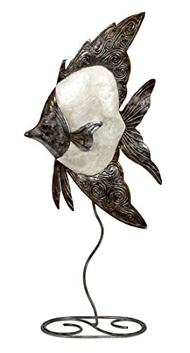 Metal & Capiz Shells Décor, White Elegance Angelfish on Stand 9x20, Nautical Capiz Artw (Angel Fish Sculpture)
