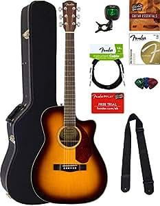 fender cc 140sce concert acoustic electric guitar sunburst bundle with hard case. Black Bedroom Furniture Sets. Home Design Ideas